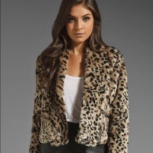 Jack by bb Dakota leopard faux fur jacket size S
